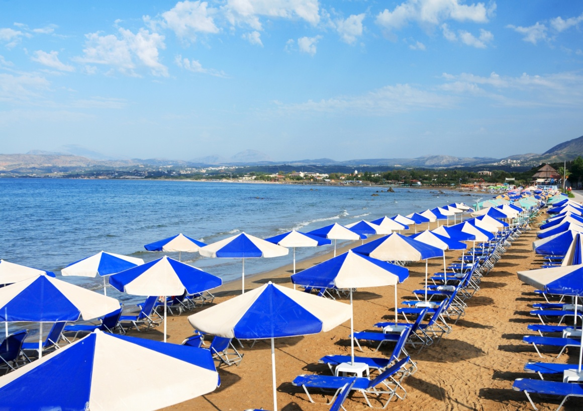 'A view of sunbeds awaiting tourists at the Greek island resort of Georgioupolis on Crete's north coast.' - Hania